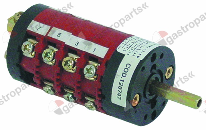 345.841, rotary switch 5 0-1-2-3-4 sets of contacts 7 type CS0168590 400V 16A shaft ø 5x5mm shaft L 25mm
