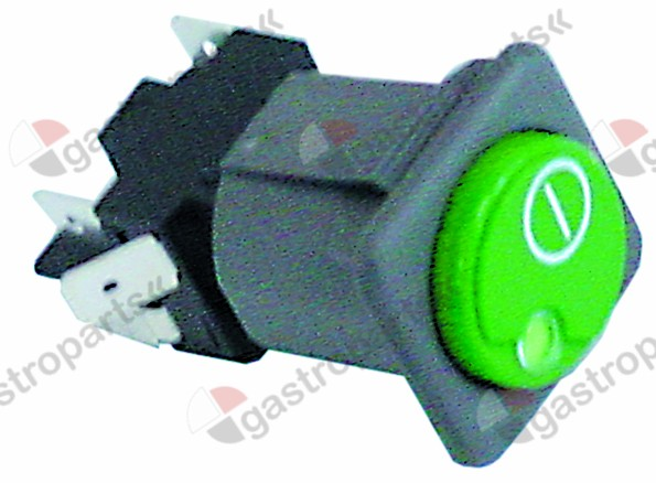 345.845, push switch mounting measurements 28.5x28.5mm green/red 2CO 250V 16A ON-OFF
