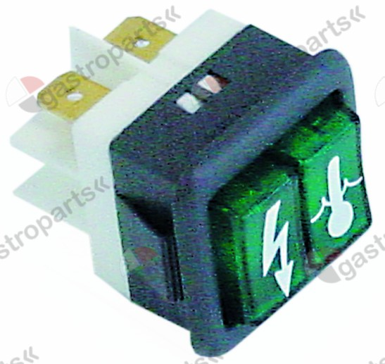 345.857, indicator light mounting measurements 27.8x25mm green 24V connection male faston 6.3mm