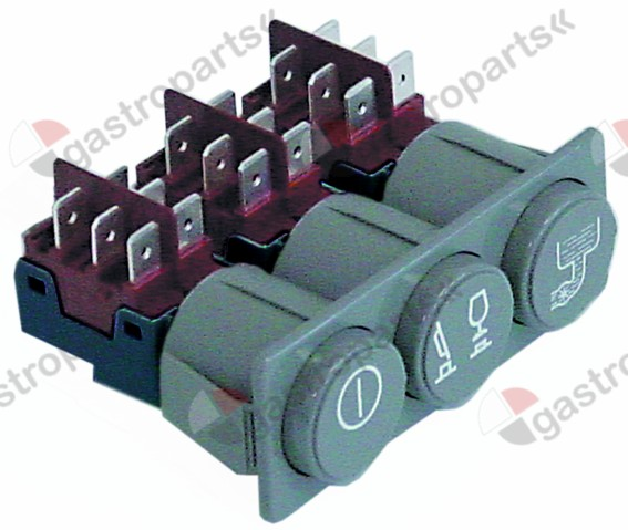 345.945, switch combination latching mounting measurements 28.5x77.5mm grey 2CO/2CO/2CO