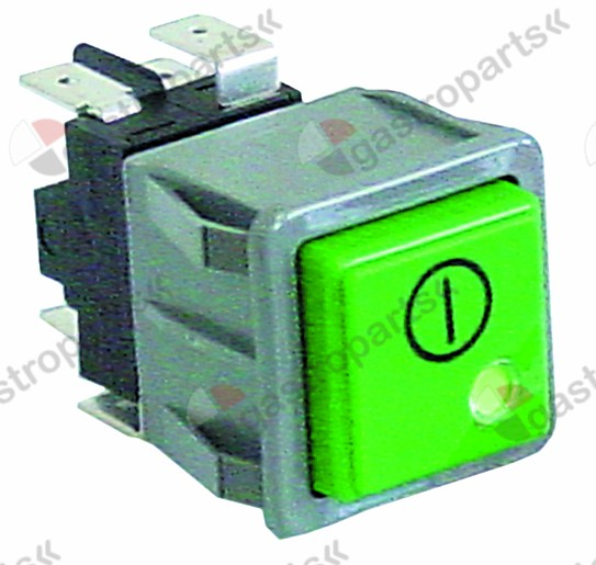 345.976, push switch mounting measurements 28.5x28.5mm green/red 2CO 250V 16A main switch