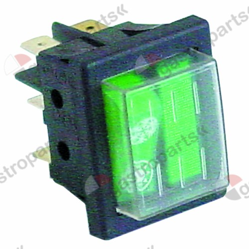345.984, rocker switch mounting measurements 30x22mm green 1CO/indicator light 230V 16A illuminated cold/warm