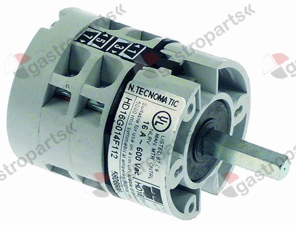 345.994, rotary switch 5 0-1-2-3-4 sets of contacts 4 type HD16G014F112 600V 16A shaft ø 5x5mm