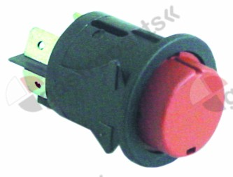 346.002, momentary push switch mounting ø 25mm red 2NO 250V 16A connection male faston 6.3mm