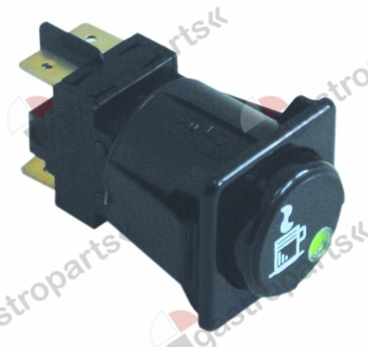 346.019, push switch mounting measurements 28.5x28.5mm green/black 2NO 250V 16A cup