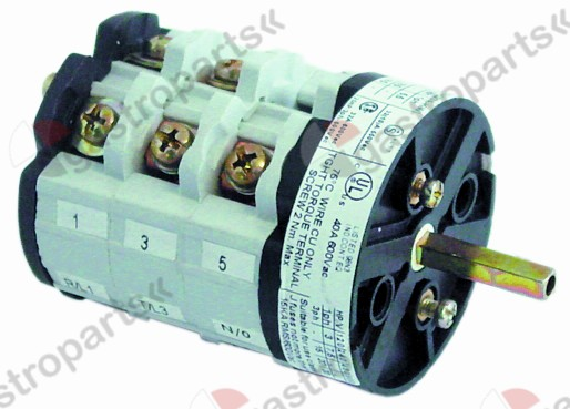 346.023, rotary switch 3 1-0-2 sets of contacts 6 type CS0327419 600V 40A shaft ø 5x5mm shaft L 23mm