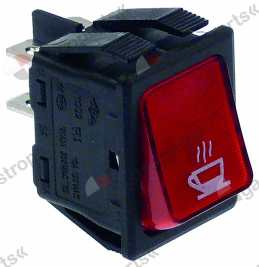 346.049, rocker switch mounting measurements 30x22mm red 2NO 250V 16A illuminated cup