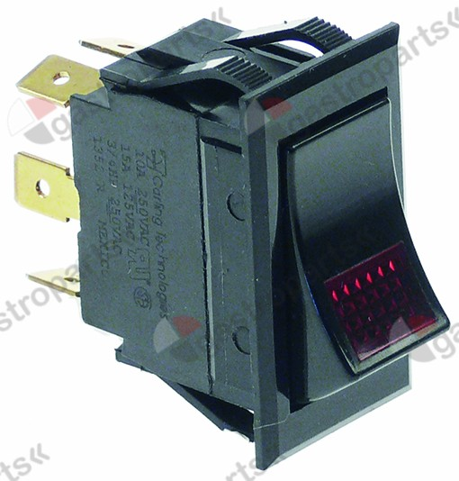 346.074, Replaced by 347826 / rocker switch mounting measurements 37x21mm black2NO/indicator light 250V 10A illuminated