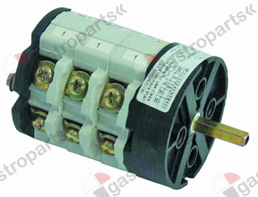 346.079, rotary switch 3 0-1-2 sets of contacts 4 type CS032GZ32 600V 40A shaft ø 5x5mm shaft L 24mm