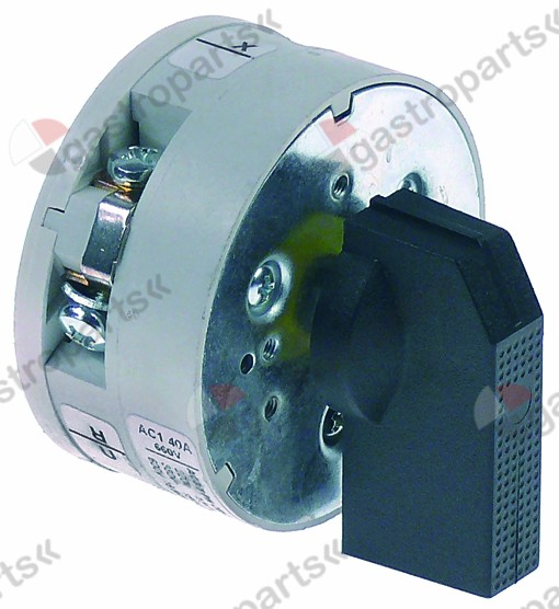346.097, rotary switch 3 0-1-2 sets of contacts 3 type P600184 400V 40A shaft ø 5x5mm shaft L 23mm