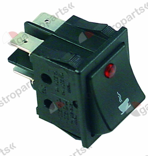 346.110, rocker switch mounting measurements 30x22mm red 2NO 250V 16A illuminated coffee