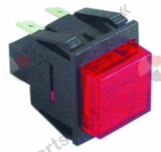 346.120, momentary push switch mounting measurements 27.2x22.2mm red 2NO 250V 16A