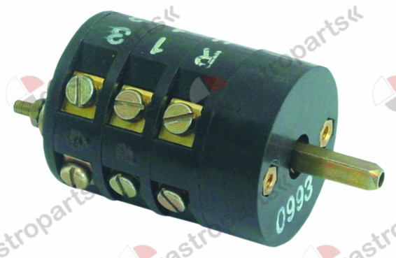346.123, rotary switch 3 0-1-2 sets of contacts 6 380V 16A shaft ø 5x5mm shaft L 3mm shaft square