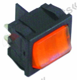 346.133, rocker switch mounting measurements 19x22mm orange 2NO 250V 10A illuminated 0-I