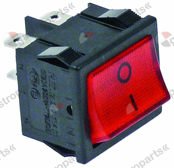 346.134, rocker switch mounting measurements 19x22mm red 2NO 250V 10A illuminated 0-I