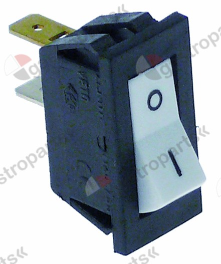 346.143, rocker switch mounting measurements 27.4x12.4mm white 1NO 250V 10A 0-I