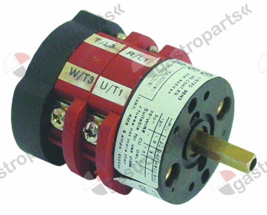 346.147, rotary switch 20A shaft L 18mm 2 operating positions 3-pole