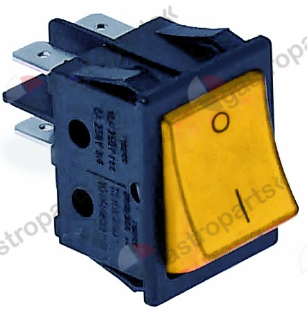346.153, Replaced by 301002 / rocker switch mounting measurements 30x22mm orange1NO/NO 250V 16A 0-1 connection male faston 6.3mm