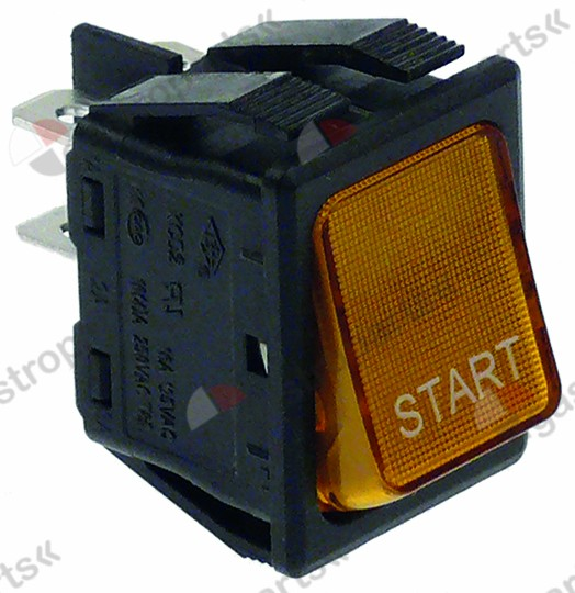 346.157, momentary rocker switch mounting measurements 30x22mm orange 2NO 250V 16A