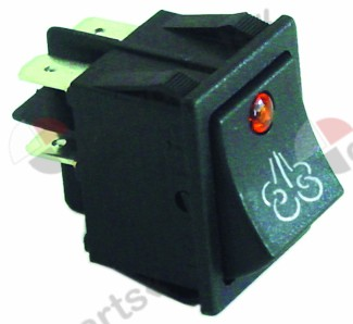 346.164, rocker switch mounting measurements 30x22mm orange/black 2NO 250V 16A illuminated steam