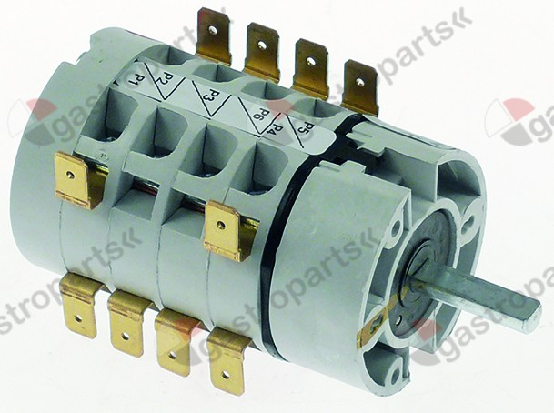 346.307, rotary switch 5 0-1-2-3-4 sets of contacts 8 type HD12X152R000 600V 12A shaft ø 6mm