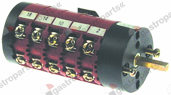 346.342, rotary switch 7 1-2-3-4-5-6-7 sets of contacts 9 type CS0169137 400V 16A shaft ø 4x5mm shaft L 20mm