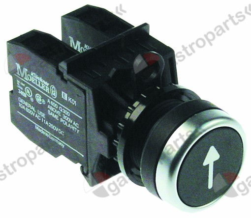 346.366, momentary push switch black o 22,5mm 1NO/1CO arro