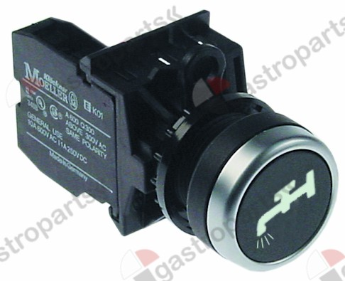 346.367, momentary push switch black o 22,5mm 1NO water