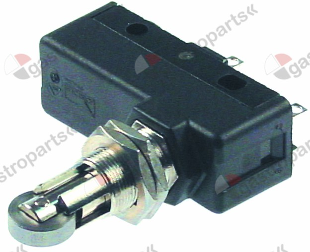 346.370, microswitch with roller plunger 230V 16A 1CO connection screw L1 49mm