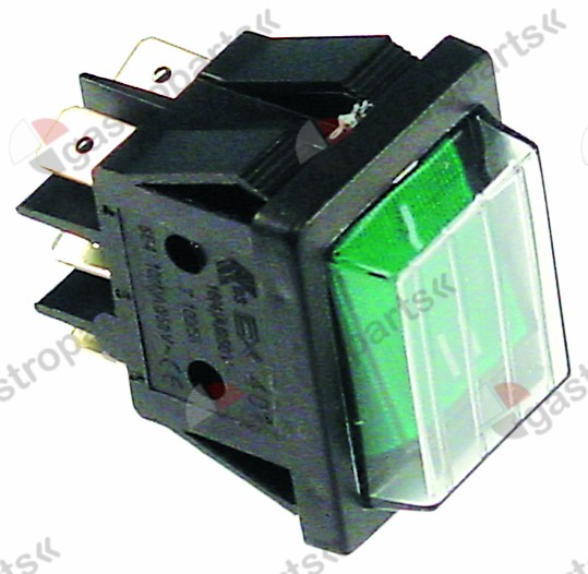 346.386, Replaced by 346539 / 301036 / rocker switch mounting measurements 30x22mm green2CO 250V 16A illuminated I-II
