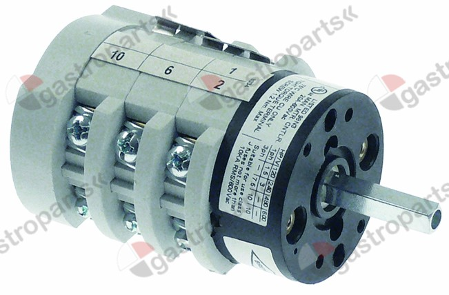 346.397, rotary switch 3 0-1-2 sets of contacts 6 type CK0208334 400V 20A shaft ø 5x5mm shaft L 23mm