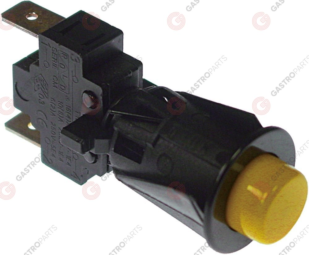 346.895, Momentary push switch mounting ø 16 mm yellow 1NO 250 V 16 A