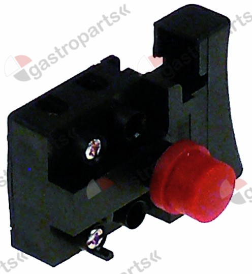 346.959, momentary push switch 29x29mm red 1NO 250V 6A