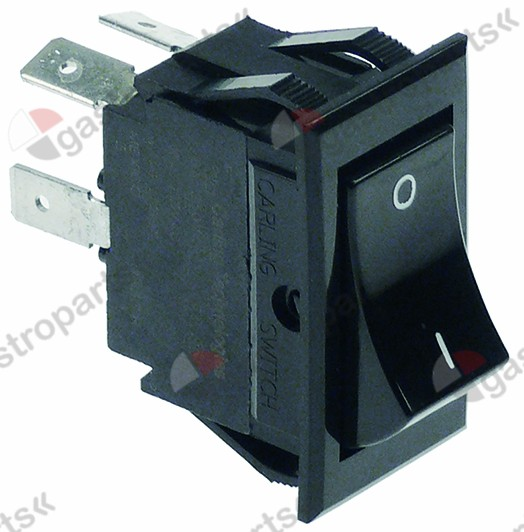 347.969, rocker switch mounting measurements 37x21mm black 2NO 250V 10A 0-1 connection male faston 6.3mm