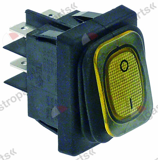 347.973, rocker switch mounting measurements 30x22mm yellow 2NO 250V 20A illuminated 0-I