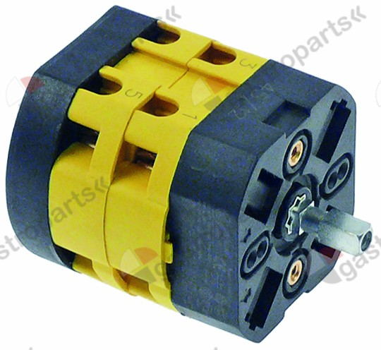 347.975, rotary switch 3 0-1-2 sets of contacts 3 type P106 690V 20A shaft ø 5x5mm shaft L 15mm shaft square