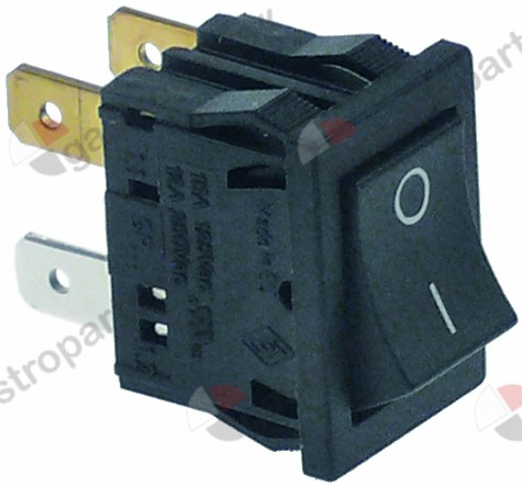 347.978, rocker switch mounting measurements 19x13mm black 2NO 240V 6A connection male faston 4.8mm