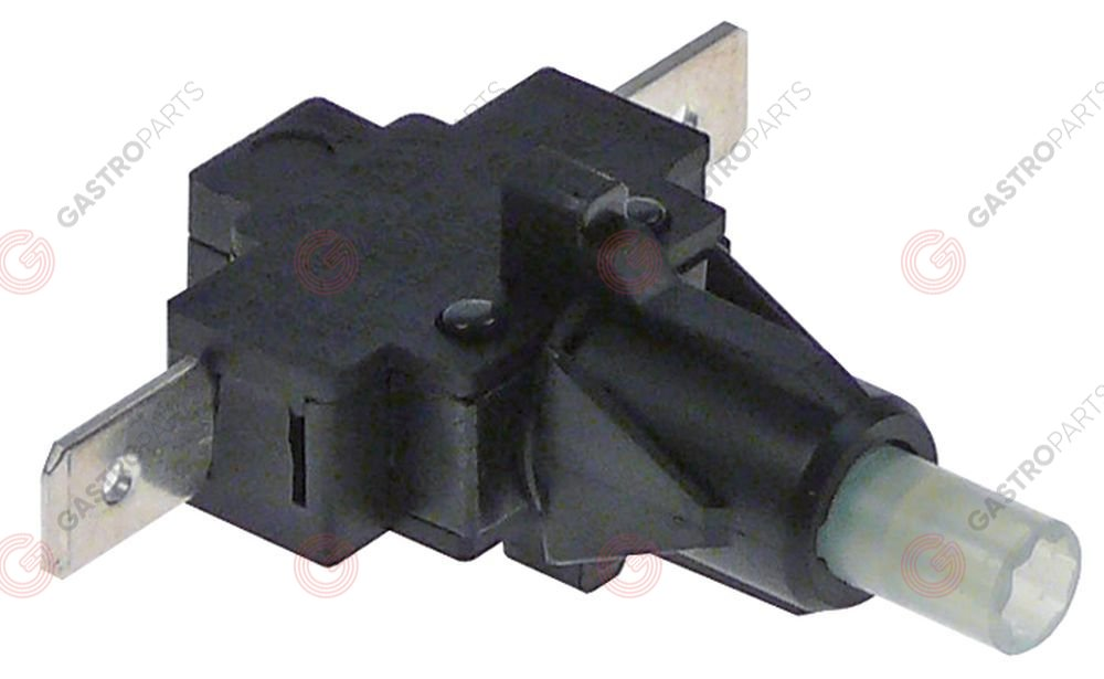 347.980, momentary push switch mounting ø 12mm black 1NO 250V 16A connection male faston 6.3mm