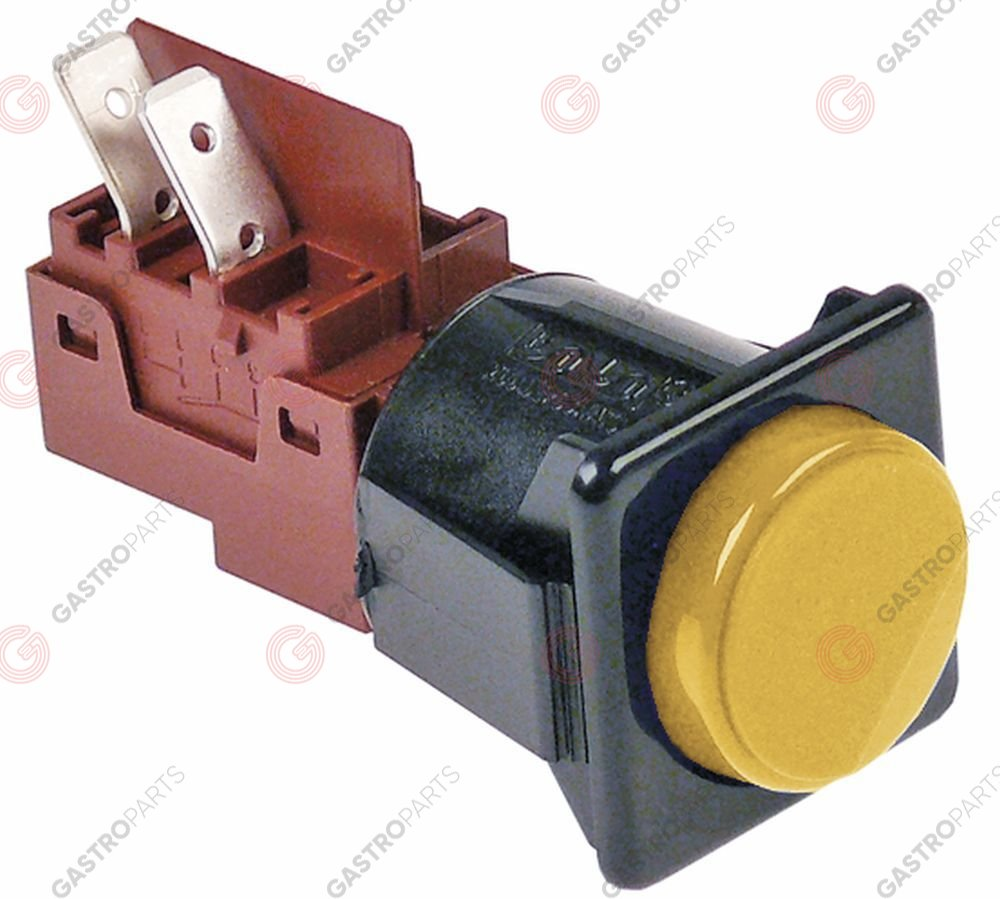 347.982, momentary push switch mounting measurements 28.5x28.5mm yellow 1NO 250V