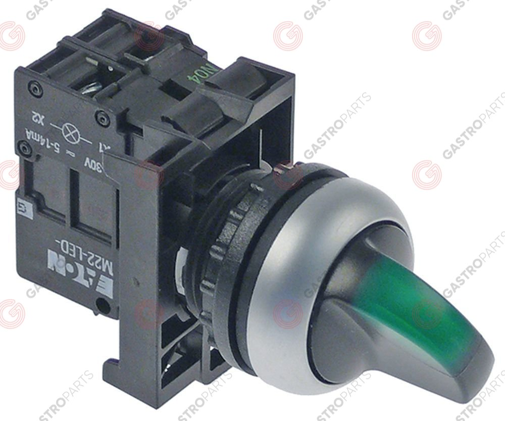 347.988, rotary selector ø 22mm green M22 sequence 1NO/indicator light 24V 230 VAC 6A 1-pole