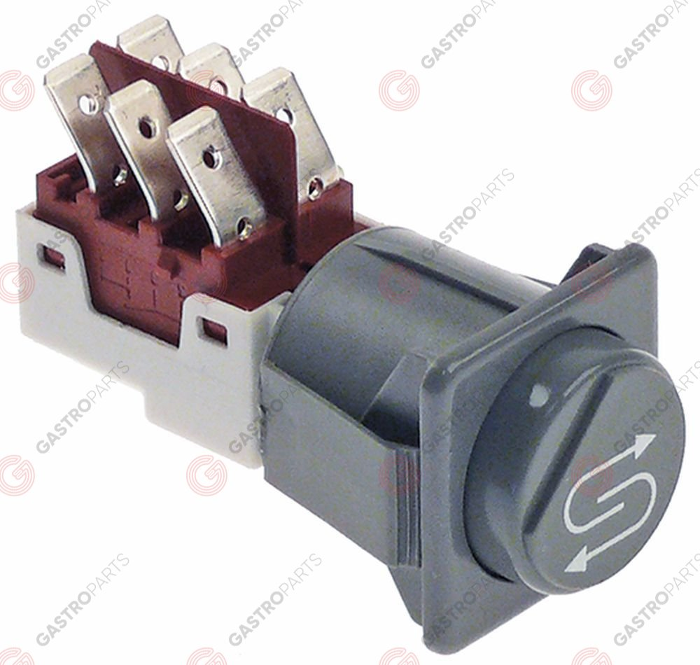 347.990, momentary push switch mounting measurements 28.5x28.5mm grey 2CO 250V