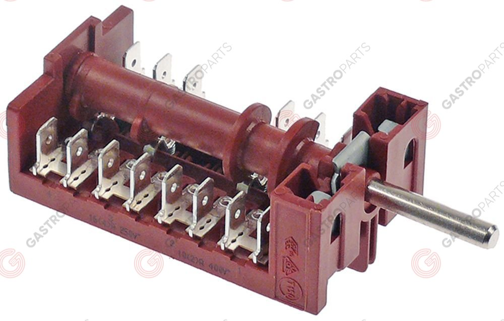 347.996, operation switch 3 operating positions 2NO/1CO sequence 0-1-2 32A shaft ø 6x4.6mm shaft L 23mm