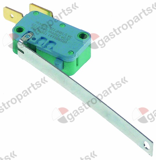 347.997, microswitch with lever 250V 3A 1NO connection male faston 6.3mm L 77mm