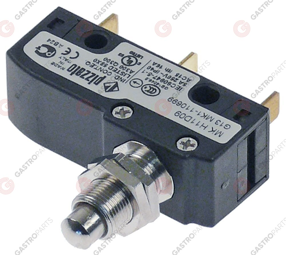 348.004, microswitch with plunger thread M10x0.75 thread L 13mm 250V 5A 1CO