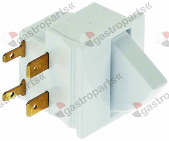 348.008, microswitch with push button 250V 2,5A 1NO/1NC connection male faston 2.8mm/6.3mm L 27mm L1 22mm