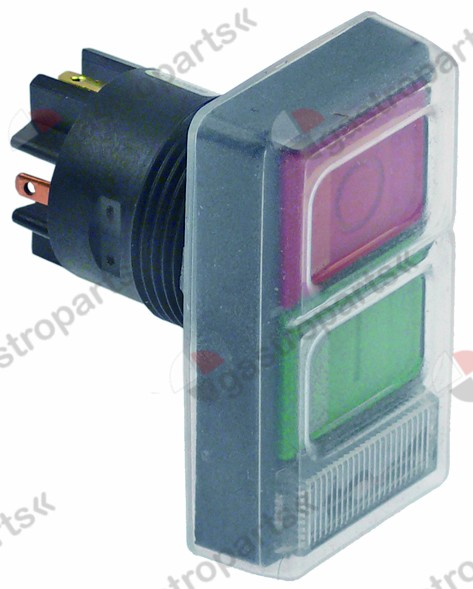 348.021, double momentary switch rated 380V 6A 1NO/1NC/indicator light mounting ø 28mm