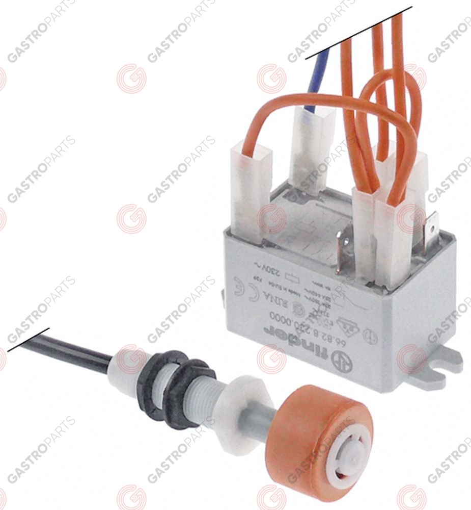 348.026, float switch kit 1CO ø 25mm L 73mm mounting ø 12mm 250V 10A male faston 6.3mm cable length 1380mm