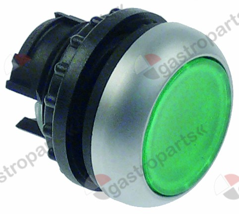 348.029, push button silver green lens latching ø 22mm