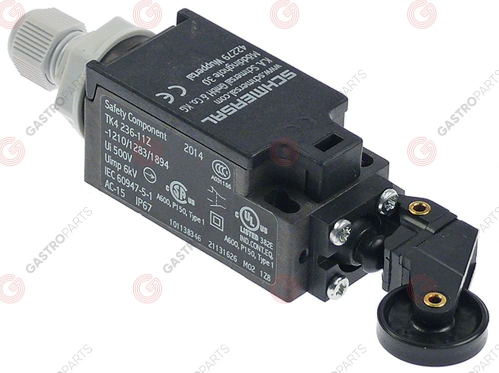 348.033, position switch with roller 1NO/1CO L 65mm W 30mm H 30mm SCHMERSAL