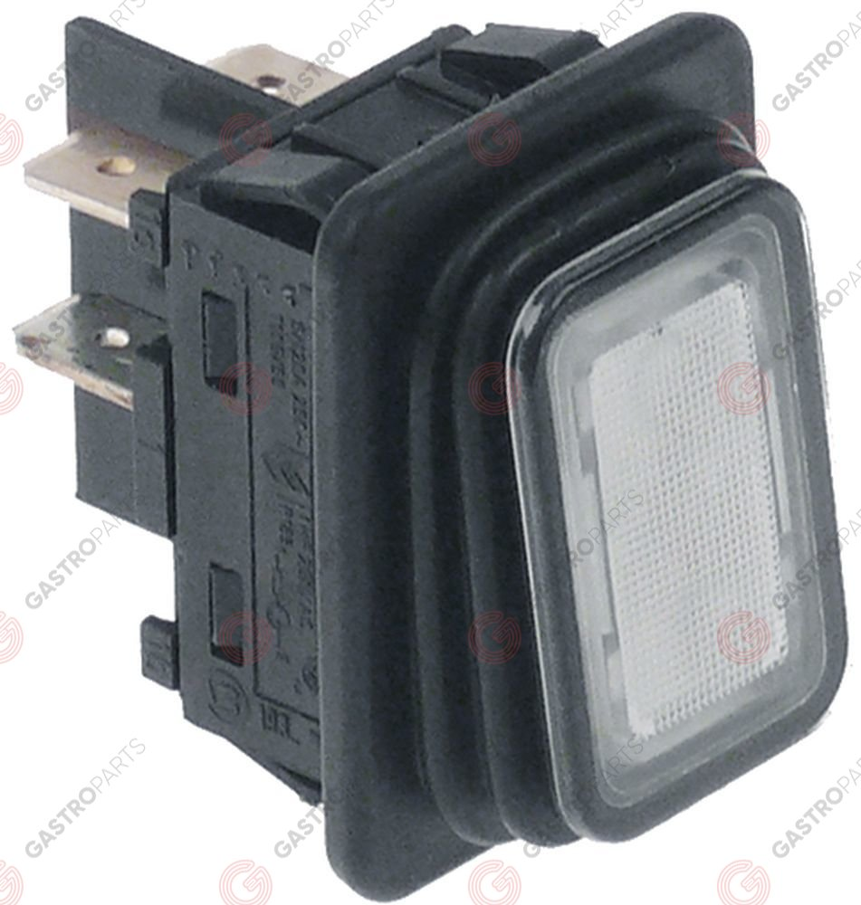 348.034, momentary rocker switch mounting measurements 30x22mm white 2NO 250V 20A